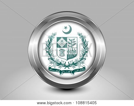 Emblem Of Pakistan. Metal Round Icon
