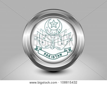 Old Emblem Of Pakistan. Metal Round Icon
