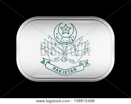 Old Emblem Of Pakistan. Rectangular Shape With Rounded Corners