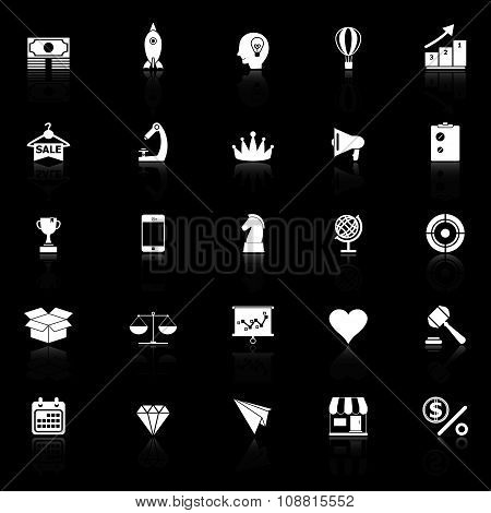 Marketing Strategy Icons With Reflect On Black