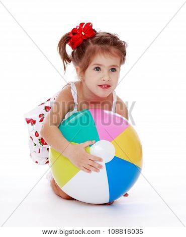 cute little girl with a ball