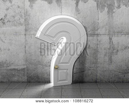 Concept Of Answer To The Question. The Opened Door In Form Of Question Sign In Concrete Wall. Abstra