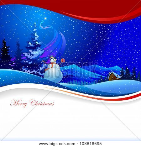 Snowman - Colorful Merry Christmas background