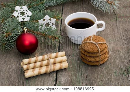 Coniferous Branch, Two Linking Of Cookies And Coffee