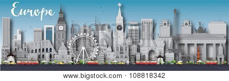 Europe skyline silhouette with different landmarks. Vector illustration. Business travel and tourism concept with place for text. Image for presentation, banner, placard and web site.