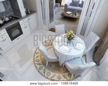 Kitchen And Dining Room In The Neoclassical Style