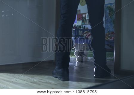 Pedophile Standing At The Entry