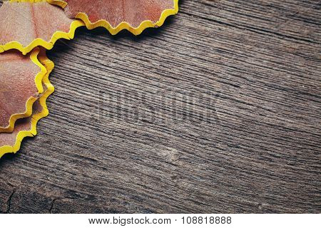shavings on wooden background