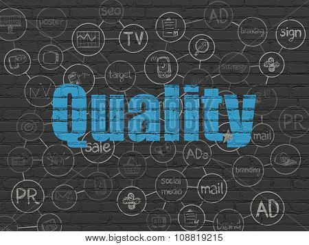 Advertising concept: Quality on wall background