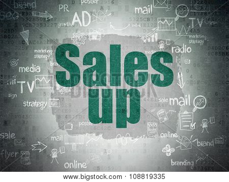 Advertising concept: Sales Up on Digital Paper background