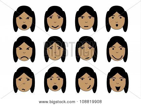 Girl face emotions