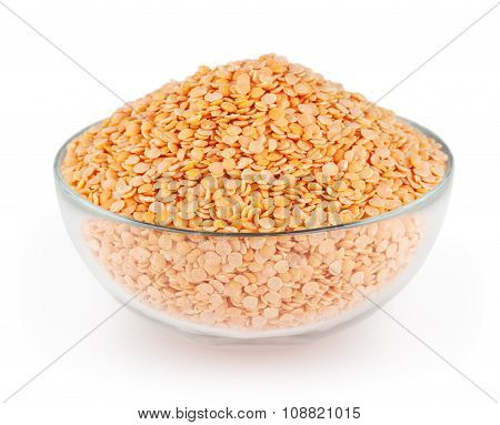 Red Lentils Isolated On White Background With Clipping Path