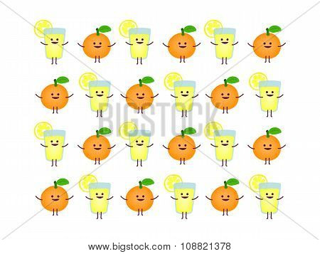 Lemonade And Orange Refreshing Pattern, Vector Illustration
