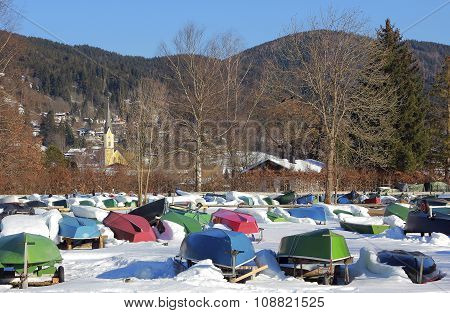 Turned Row Boats In Winter, Schliersee Village, Bavaria