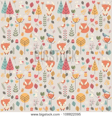 Seamless Pattern With Cute Christmas Baby Fox Surrounded With Floral Decoration