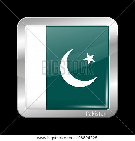 Flag Of Pakistan. Metallic Icon Square Shape