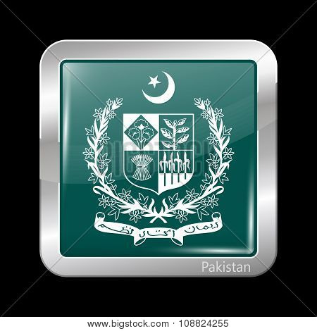 Emblem Of Pakistan. Metallic Icon Square Shape