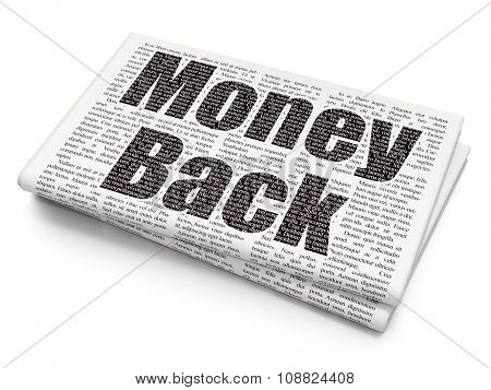 Business concept: Money Back on Newspaper background