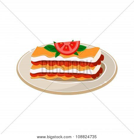 Waffle with Tomato. Vector Illustration