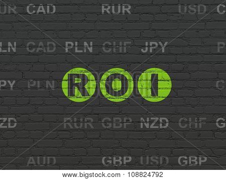 Business concept: ROI on wall background