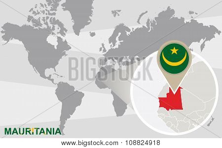 World Map With Magnified Mauritania