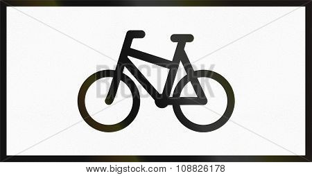 Norwegian Supplementary Road Sign - Sign Applies To Bicycles