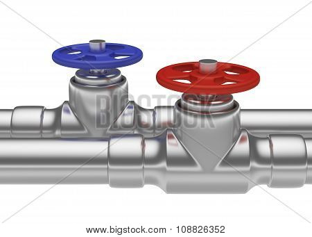Blue And Red Valves On Steel Pipes