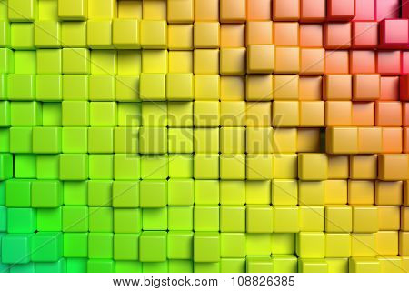 Abstract Red And Green Cubes 3D Background