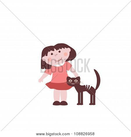 Little Girl With A Cat