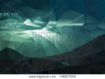 Vector polygonal mountain background. Triangular landscape abstract design in blue and green colors