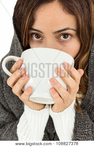 Sick Woman With A Cup Of Warm Tea