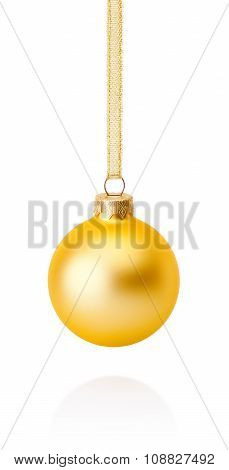 Golden Christmas Ball Hanging On Ribbon Isolated On White Background