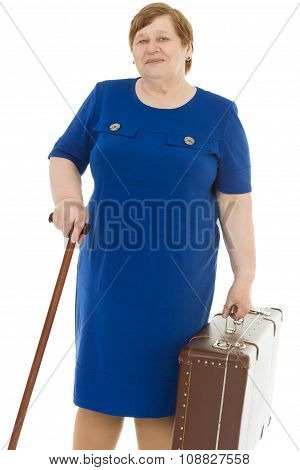 Grandmother with a cane and briefcase