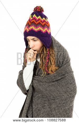 Woman Coughing And Has Cold