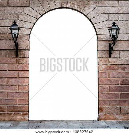 Stone Arch Of An Italian Palace Suitable As A Frame Or Border