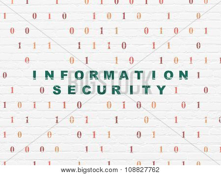 Safety concept: Information Security on wall background