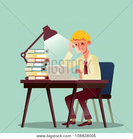 Hard Working Business Man With Pile Of Work On Desk