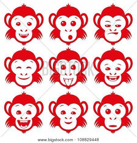 Set of red monkey.