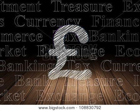 Currency concept: Pound in grunge dark room