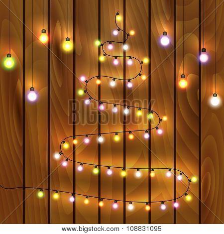 Christmas tree made of christmas lights,