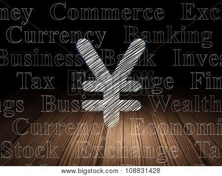 Banking concept: Yen in grunge dark room