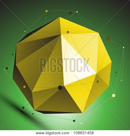 Gold Abstract Spherical Vector Object With Lines Mesh Over Green Background. Dimensional Globe With
