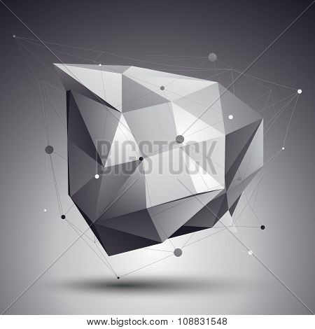 Vector Digital 3D Abstraction, Lattice Geometric Polygonal Template, Perspective Wireframe Unusual I
