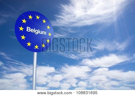 Belgium Border Sign