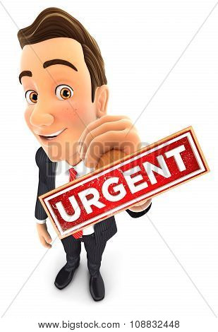 3d businessman urgent stamp