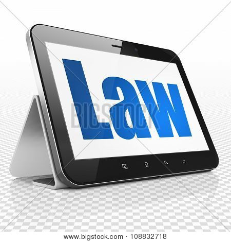 Law concept: Tablet Computer with Law on display