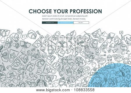 professions Doodle Website Template Design