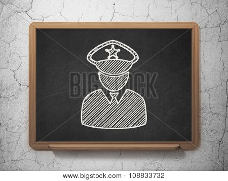 Law concept: Police on chalkboard background