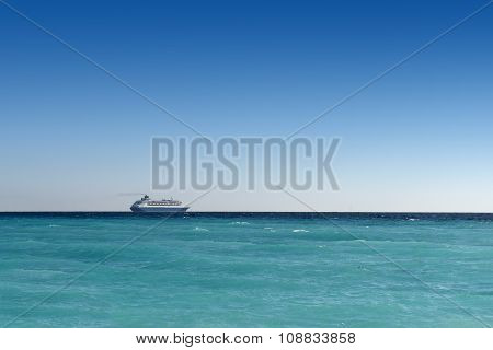 cruise liner sailing away