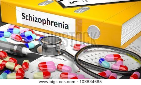 Illustration of doctor's desktop with different pills, capsules, statoscope, syringe, yellow folder with label 'Schizophrenia'